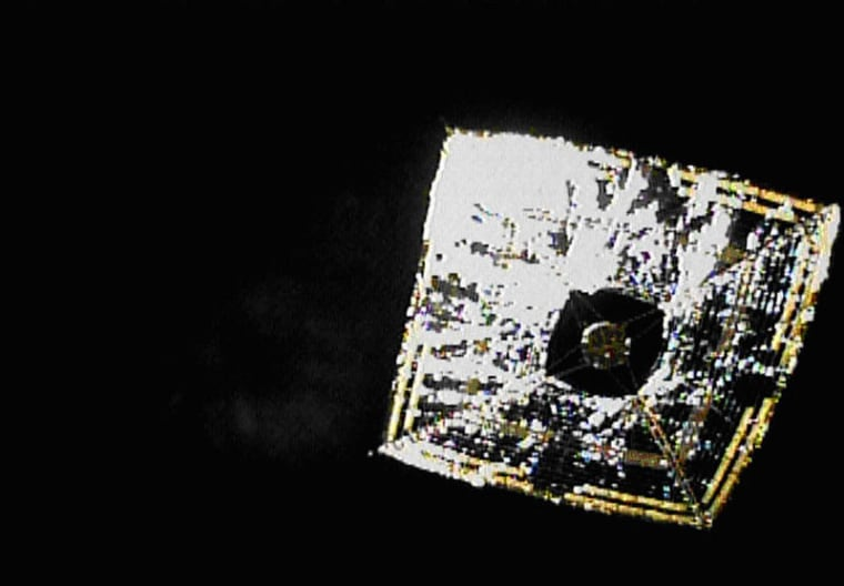Japan's Ikaros spacecraft is the vanguard of solar sail propulsion. It launched in May 2010 and is shown here in June in photos snapped by a small camera ejected by the space sailcraft while flying in deep space.