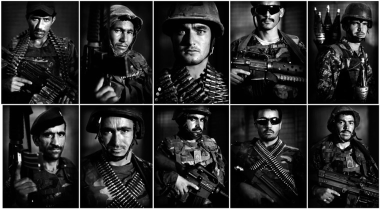 Image: Portraits of  Afghan National Army soldiers following a patrol