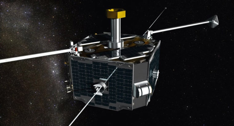 Image: One of the probes that will make up the  constellation of five satellites known as THEMIS