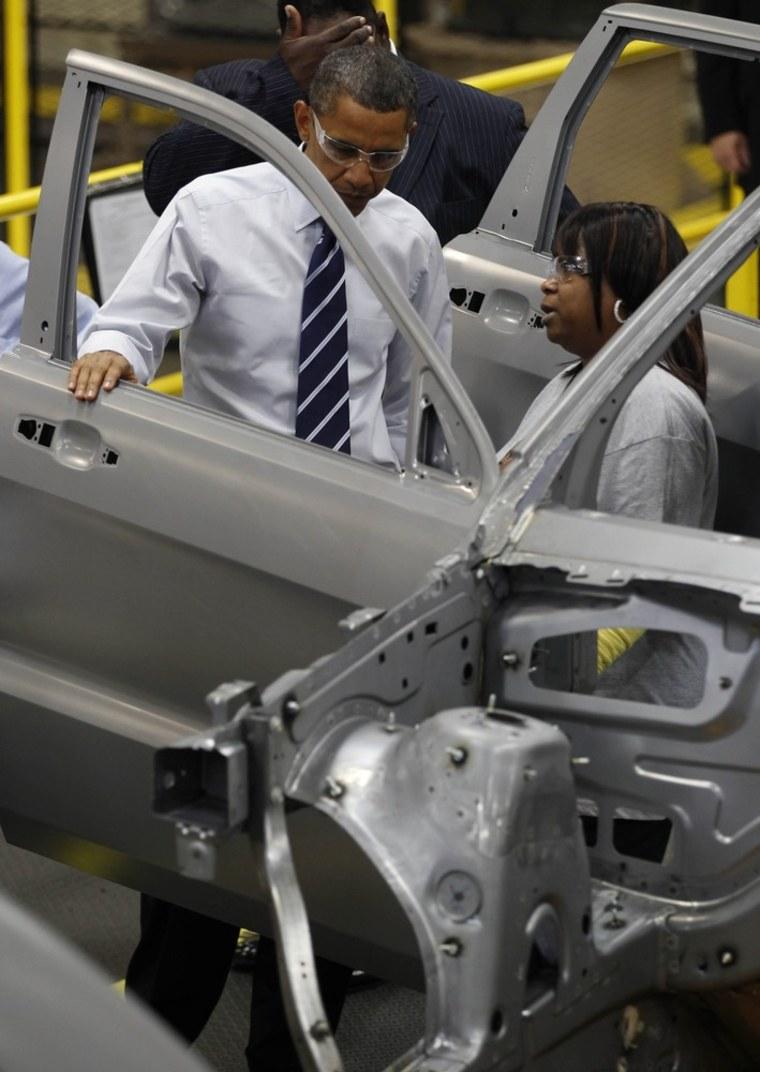Image: U.S. President Barack Obama tours a Chrysler Auto Plant in Detroit