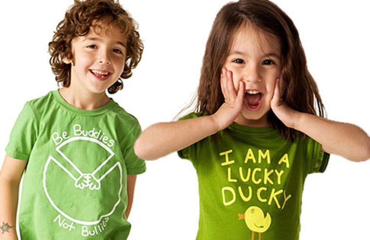 """VeriMeri makes positive T-shirts for kids —sentiments include """"Peace, Dude,"""" """"I'm a lucky ducky"""" and """"Imagine."""""""
