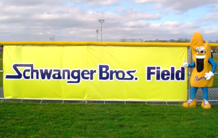 Image: The Black Knights softball team plays at Schwanger Bros. Field, which is sponsored by a home services company