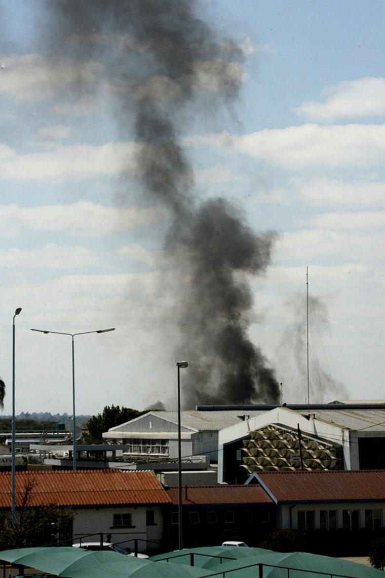 Image: Smoke coming from Zimbabwe's Harare International Airport