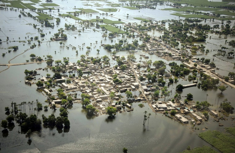 Image: Houses are half submerged in floodwater in Mithan Kot, in central Pakistan