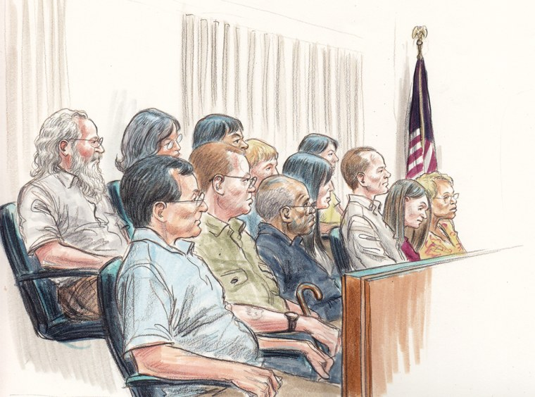 Jurors in the Rod Blagojevich trial are shown in an artist's sketch.