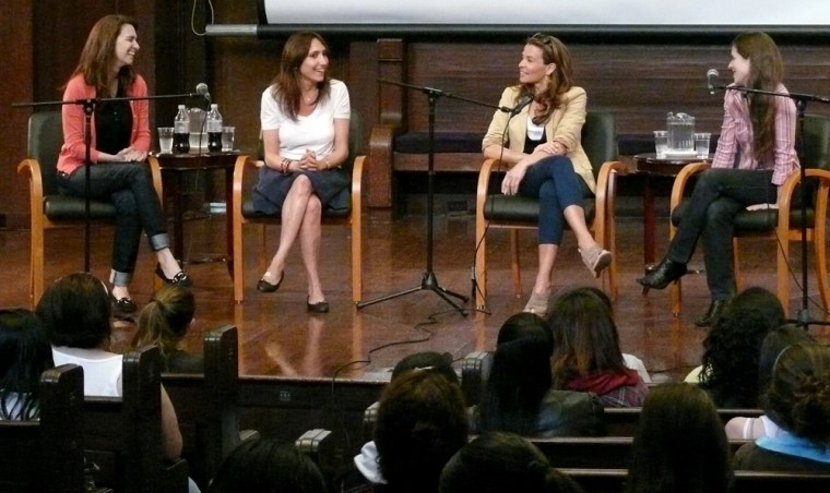 """From left,Elizabeth Hayes (associate producer, publicist """"Rachel Getting Married""""), Neda Armian (producer, """"Rachel Getting Married""""), Jenny Lumet (Lena Horne's granddaughterandwriter, """"Rachel Getting Married"""")and Victoria Pettibone, program moderator and co-founder of WET Productions, speak to young women at a Risk Takers lecture and Q&A in May."""