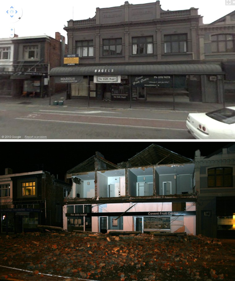 Image: Before and After; Earthquake damage on Victoria St. in Christchurch New Zealand