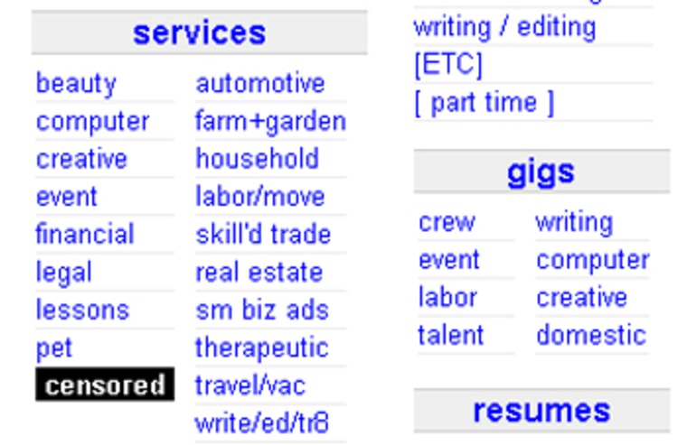 "A screen shot on Saturday from the opening page of Craigslist's website for Hartford, Conn., features a ""censored"" logo over what used to be the adult services section."