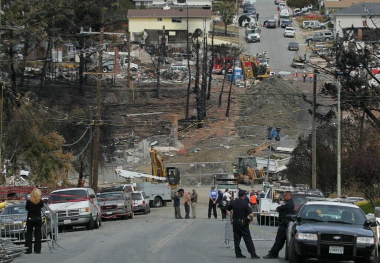 Image: Crater excavation in San Bruno neighborhood