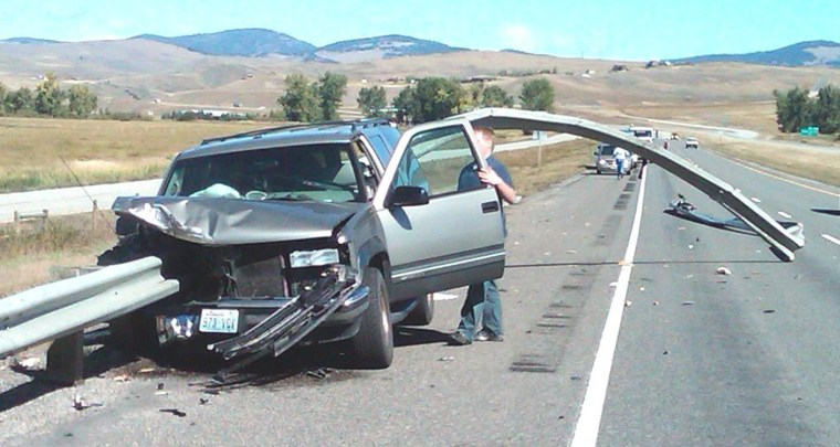 This driver was lucky. He fell asleep and drifted off the road on Sept. 2 on I-90 near Deer Lodge, Mont. The guardrail impaled his Chevy Suburban, passing  through the engine block, the passenger seat and the back window. The NTSB has issued 34 safety recommendations to deal with fatigue on the nation's roads. Only 17 have been followed.