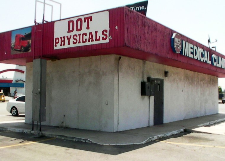 Truckers can get medical examinations at a Travel Centers of America truck stop in Ontario, Calif. Medical clinics have sprung up at truck stops across the country. NTSB proposals to tighten up the U.S. Department of Transportation's system have not been implemented, while