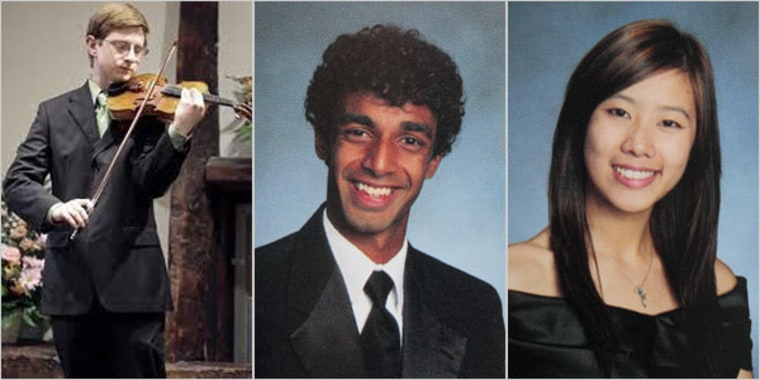 Tyler Clementi, left, committed suicide days after he was secretly filmed and broadcast on the Internet. Clementi's roommate, Dharun Ravi, center, and another classmate, Molly Wei, have been charged in the case.