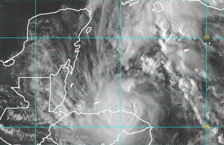 Tropical Storm Paula is seen in this satellite image just off Honduras.