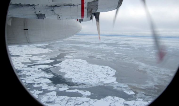 Image: Broken Arctic sea ice as seen from a window in from a U.S. Coast Guard C130 flight over the Arctic Ocean