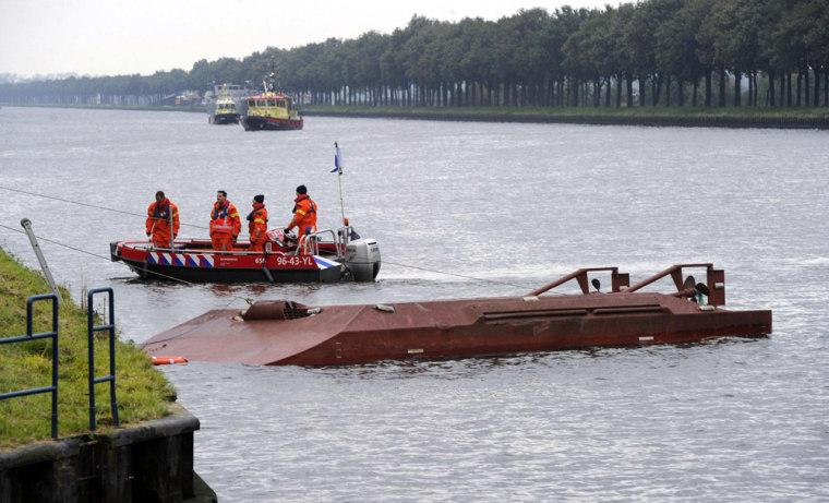 Image: Cargo ship rams Dutch ferry
