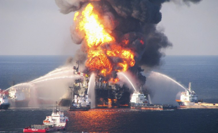 Image: File photo of the off shore oil rig Deepwater Horizon fire, off Louisiana