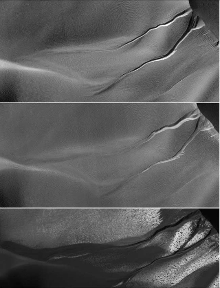 Image: Three photos of gullies on Martian sand dune