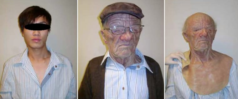 """After being detained in Vancouver, Canadian officials asked the passenger to put on the clothing and mask found in luggage linked to him. """"They noted that he very much resembled an elderly Caucasian man,"""" the intelligence bulletin says."""