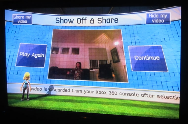 Image: Screenshot of Kinect Sports showing replay with 2-year-old kid