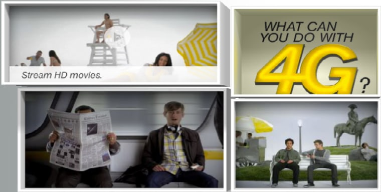This screenshot from Sprint's 4G marketing campaign shows videos of the things you can do with the carrier's 4G network, including stream HD videos over the air.