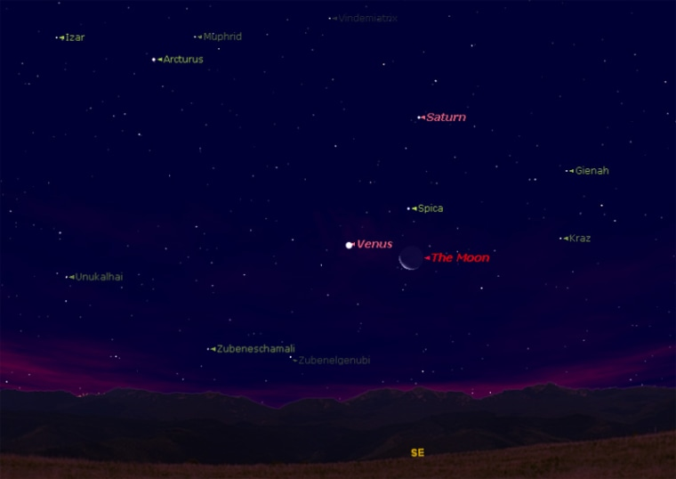 Image: Sky map of Venus, crescent moon and bright star Spica