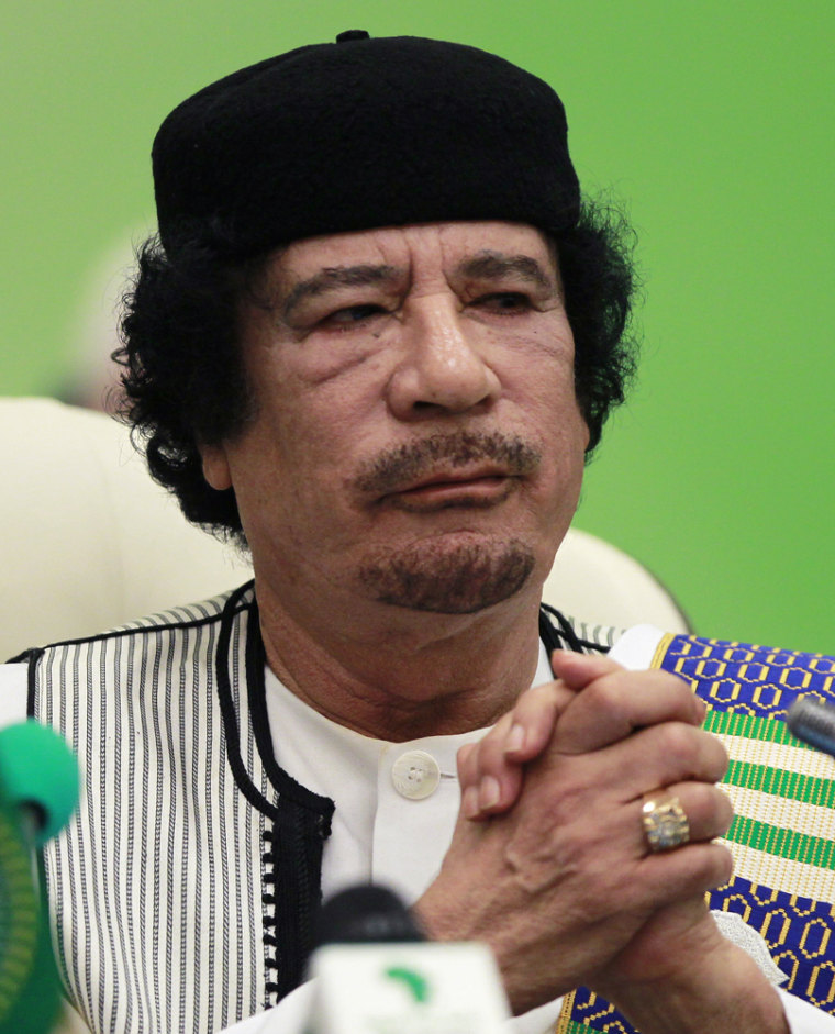 Image: Libya's leader Muammar Gaddafi delivers a speech at the start of the third EU-Africa summit in Tripoli