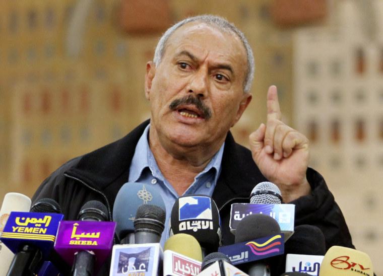 Image: Yemen's President Ali Abdullah Saleh addresses a news conference in Sanaa