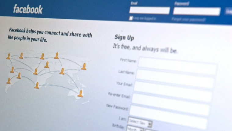 Image: (FILES)The Facebook homepage appears on