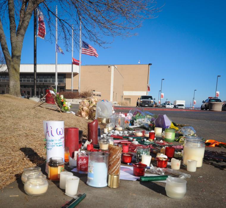 Image: Memorial outside Millard South High School