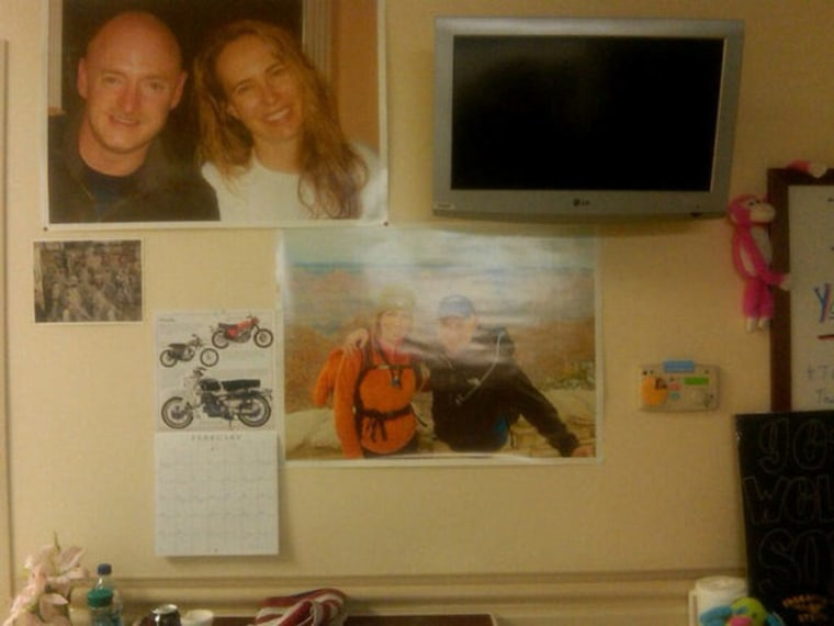 Photos of loved ones and other inspiration adorn Rep. Gabrielle Giffords' hospital room.