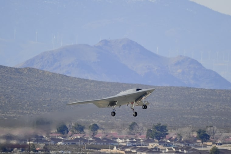 The X-47B drone takes off for a test last week from Edwards Air Force Base in California.
