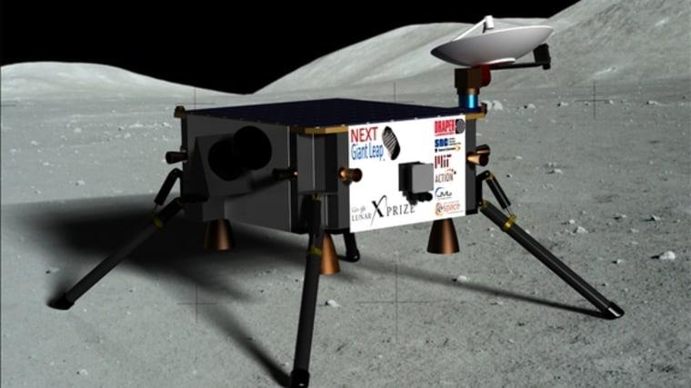 An artist's interpretation of the Next Giant Leap team's hopping lunar lander.