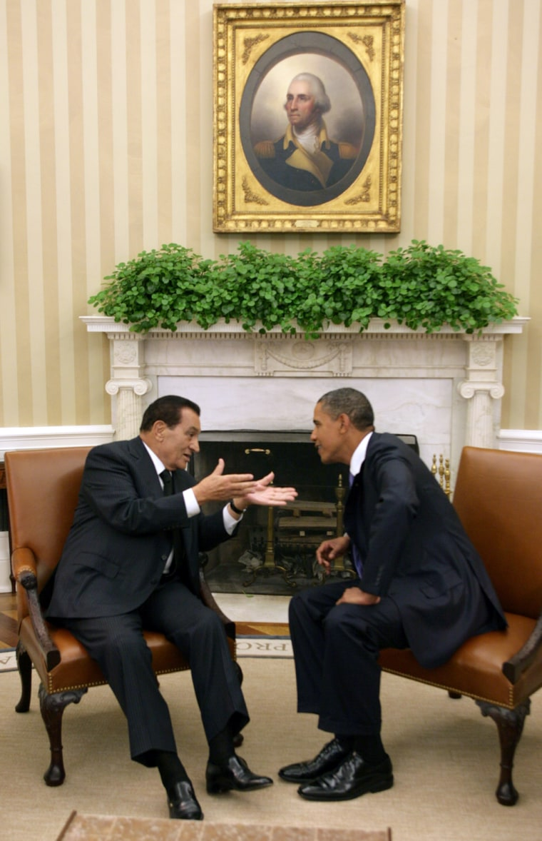 Image: Egypt's President Hosni Mubarak at the White House in Sept. 2010 with President Obama