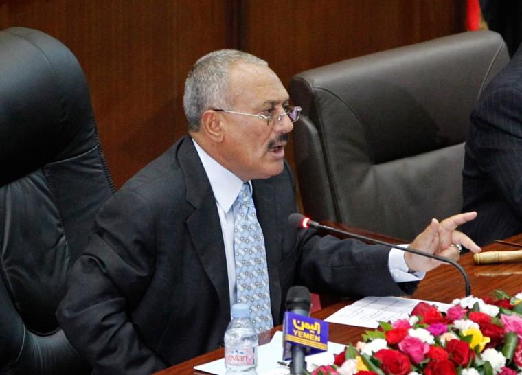 Image: Yemeni President Saleh addresses the parliament in Sanaa