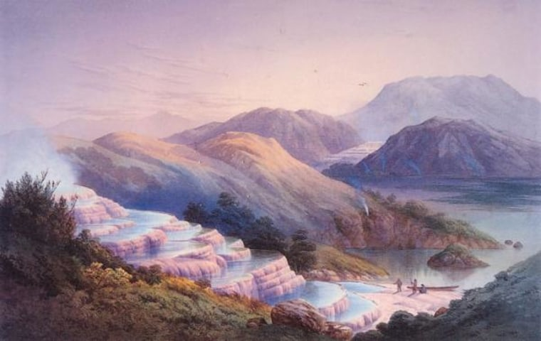 A painting of the Pink Terraces as they appeared before 1886. The terraces vanished when Mount Tarawera erupted in 1886 and were presumed to be either destroyed or buried on a lake bottom.