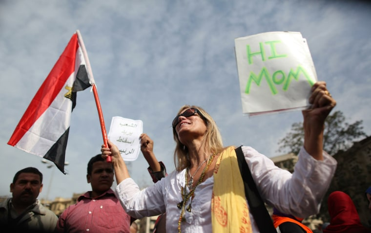 Image: US citizen Lisa Roscoe joins the street protest in Cairo