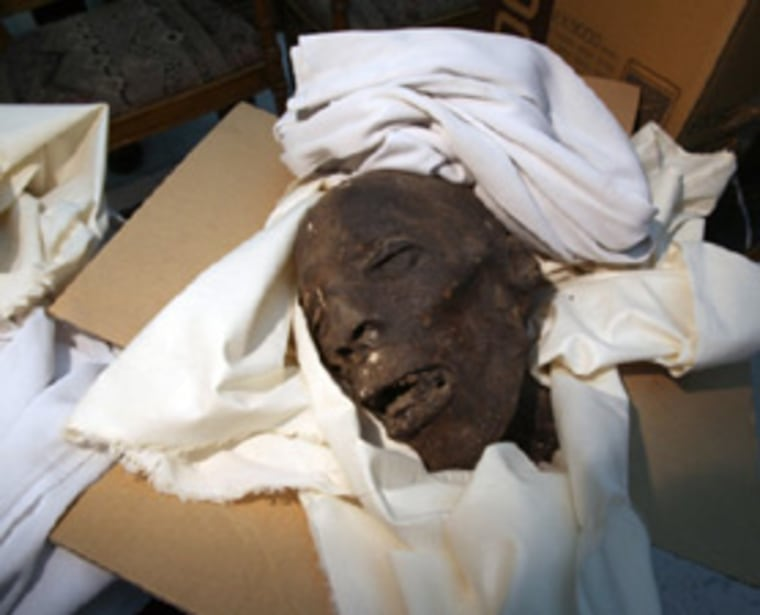 One of the heads from a mummy damaged during a break-in at Cairo's Egyptian Museumlast week.