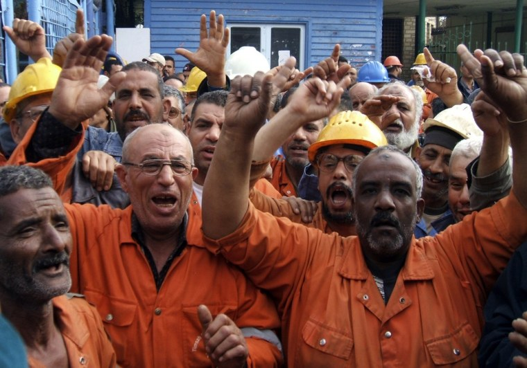 Image: Suez Canal Company workers protesting