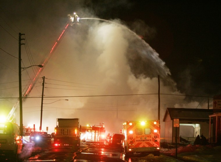 Image: Fire rages after an explosion in Allentown, Pa.