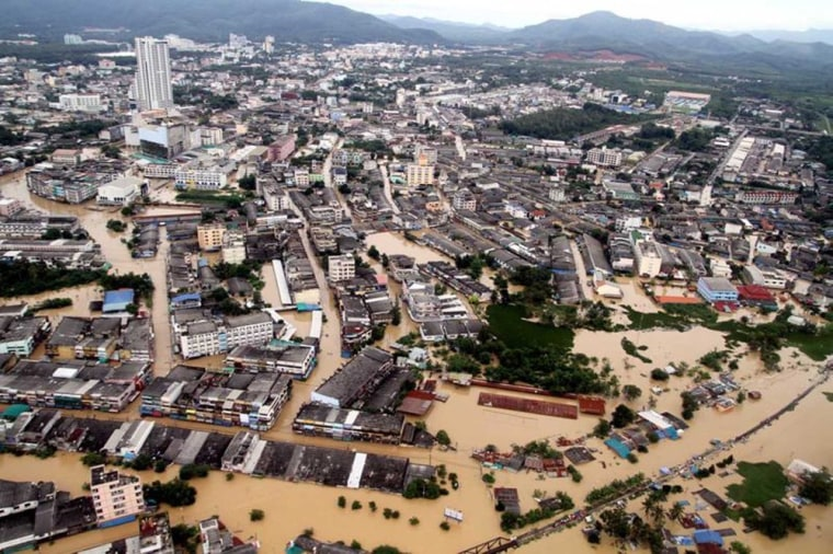 Image: A general view shows a flooded Hat Yai district in Songkhla province