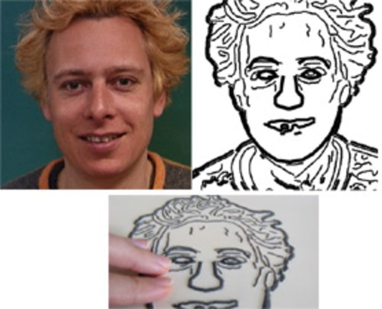 A portrait photograph and its corresponding tactile image for the blind. At bottom is a close-up of a tactile photo of the portrait.