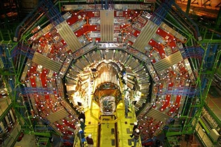 The Compact Muon Solenoid, one of the detectors on the Large Hadron Collider, weighs more than 12,000 tons. The collider, a 17-mile-long underground ring near Geneva, is set to start up again.