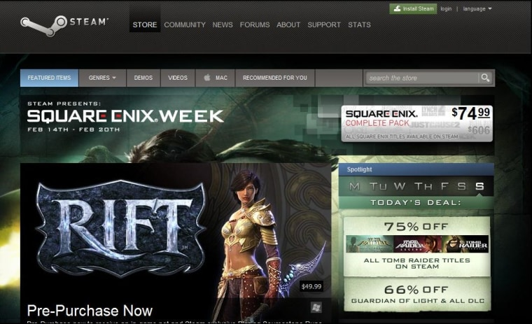 Image: Steam home page