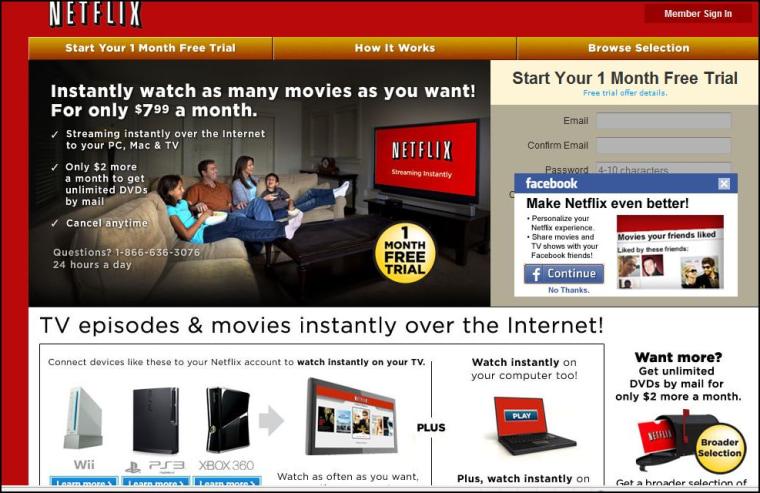Image: Netflix home page