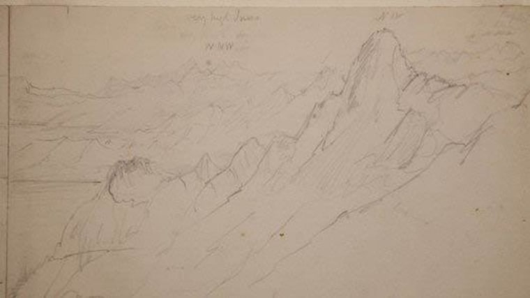 The newly identified sketch of Mount Everestwas done on site, in view of the famous peak, in the mid-1800s. Filmmaker Peter Donaldson discovered it while doing research in the Kew's archives.