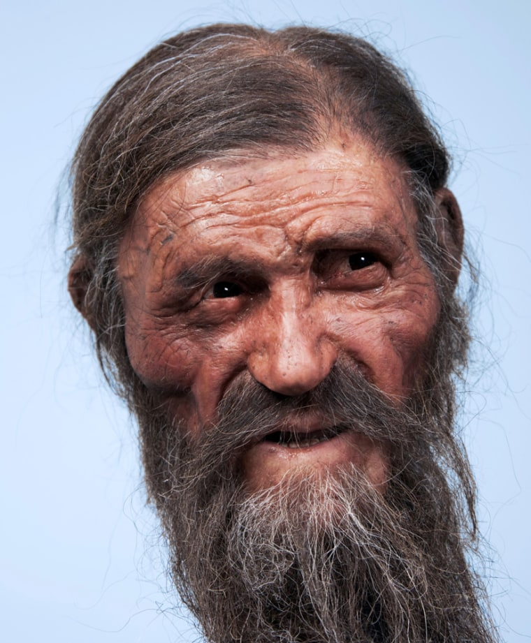 The newest reconstruction of Otzi the Iceman shows a prematurely old man with deep-set eyes, sunken cheeks, a furrowed face and ungroomed beard and hair.