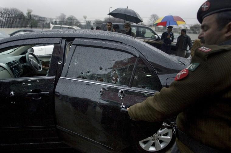 Image: Damaged car of slain Pakistani government minister for religious minorities