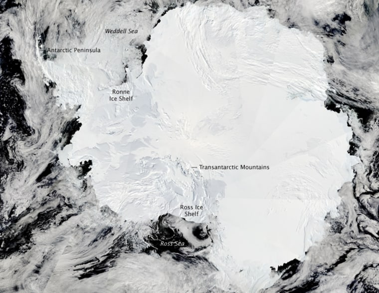 This satellite view shows Antarctica, which is covered by two ice sheets divided by the Transnatarctic Mountains. A new studyfound that a plateau justeast of the mountain range includes ice that thaws and freezes over time, changing the structure of the ice sheet.