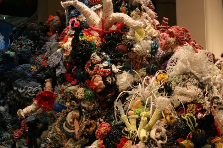 A portion of the crochet coral reef at the Smithsonian Natural History Museum in Washington D.C.