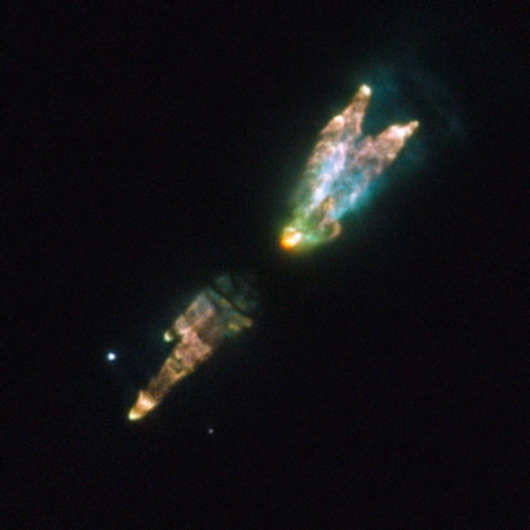 This image from the Hubble Space Telescope shows the Westbrook Nebula. The odd bundle of jets and clouds results from a burst of activity late in the life of a star. As its core runs out of nuclear fuel, the star's outer layers puff out toxic gases such as carbon monoxide and hydrogen cyanide.
